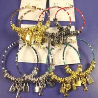 2 Fashion Jewelry Seed Bead Alloy Hoop Earrings W/ Dangle Lock& Key Charms