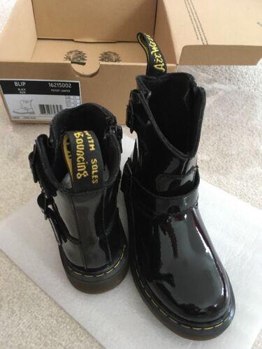 Blip Kids Patent en Tamaño estrenar A Lamper Dr Black Boots caja Martens Uk 11 qftRR8wg