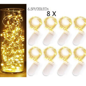 8x-20LEDs-2M-Waterproof-LED-MICRO-Silver-Copper-Wire-String-Fairy-Lights-Decor