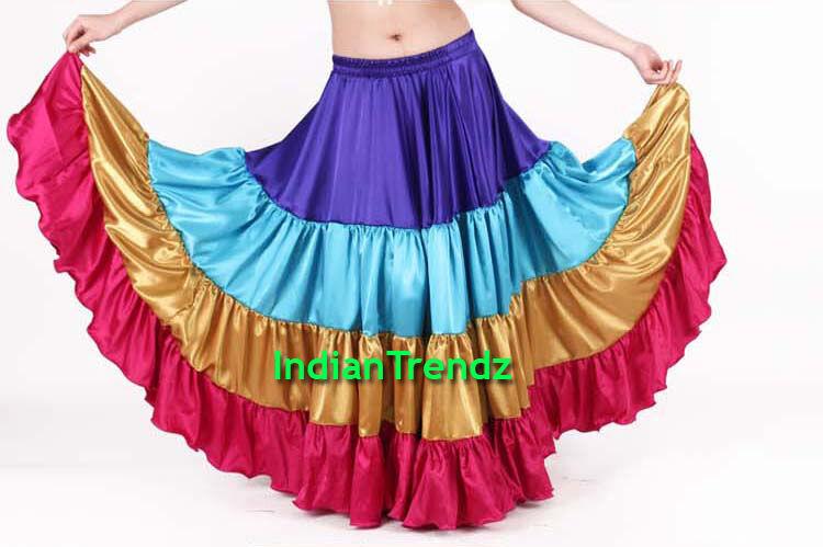 golden & Deep Pink Satin 25 Yard Tiered Gypsy Skirt Belly Dance Ruffle Flamenco