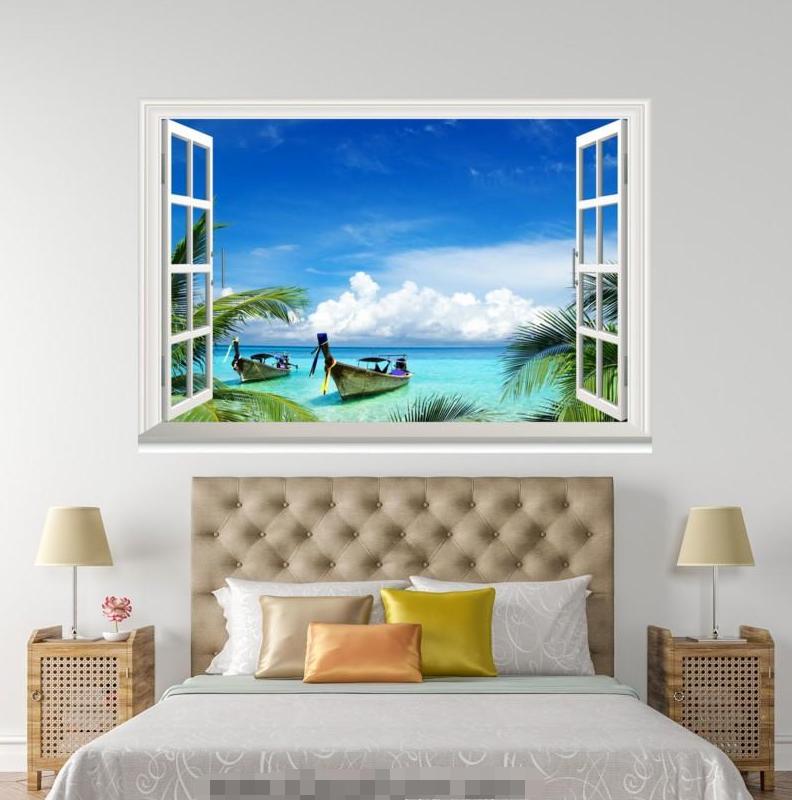 3D Ship Blau Ocean 052 Open Windows WallPaper Wandbilder Wall Print AJ Jenny