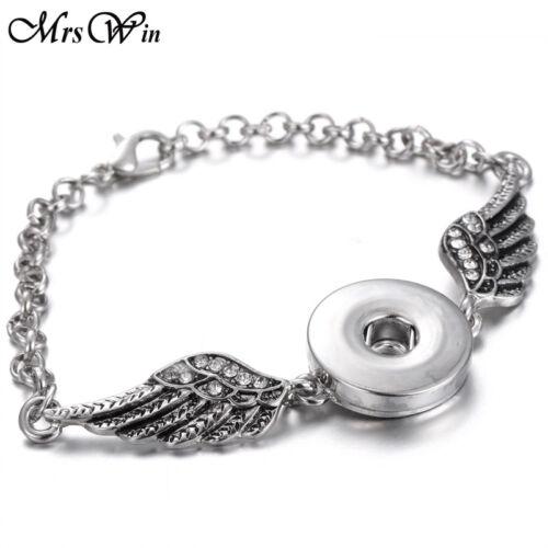 Fashion noosa Angel Wings Alloy Snap Bracelet Metal Chain Fit 18mm Snap Button