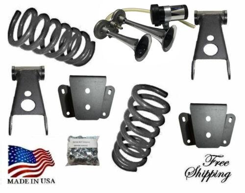 "2-4/"" Lowering Kit Springs Shackles Hanger Horn 1980-1996 Ford F100 F150 2WD"