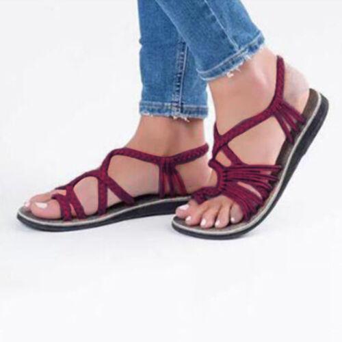 Bohemian Flat Flip Flops Sandals Summer Womens Bandages Casual Beach Shoes Size