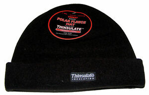 783c9f1f4f2f4 Image is loading MENS-BLACK-POLAR-FLEECE-BEANIE-HAT-WITH-THINSULATE-