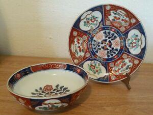 Vintage Japanese Porcelain Gold Imari Hand Painted Bowl Dish Plate Set