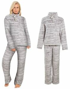 pretty nice a9c74 cb9c5 Details zu Ladies Fleece Pyjamas Womens Roll Neck Twosie Loungewear PJs  Winter Size 8 to 22