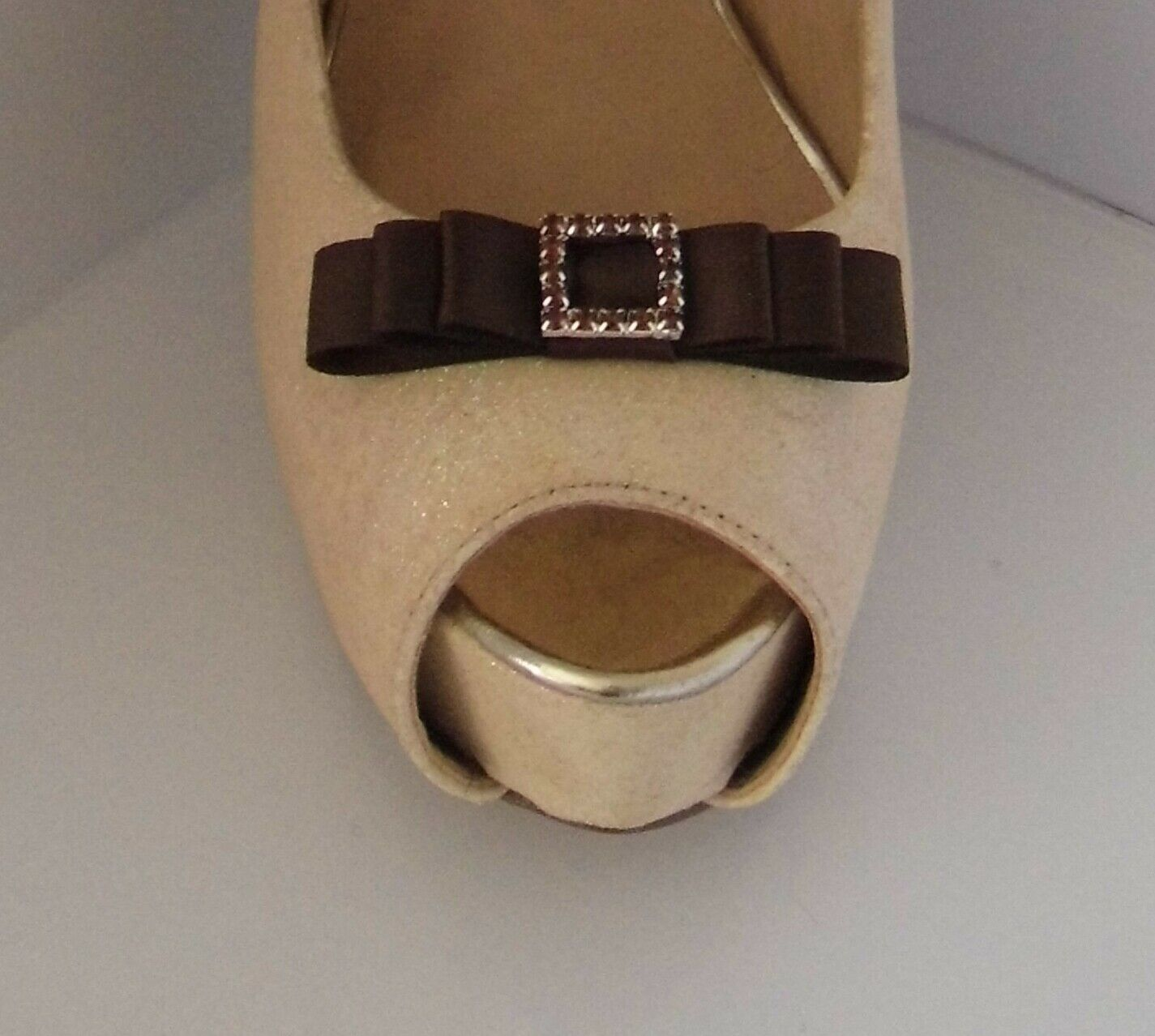 2 Brown Small Satin Bow Shoe Clips with Matching Diamante Buckle Centre