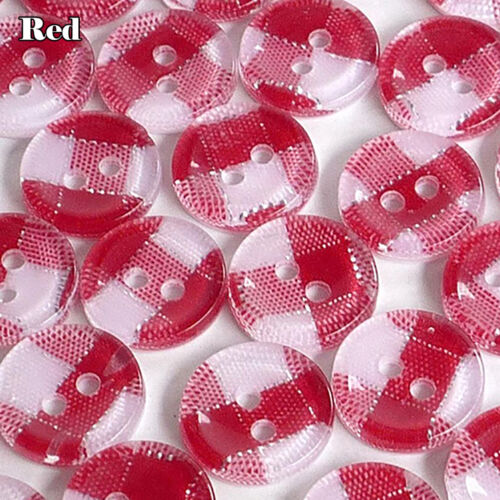 20//100//200pcs Mixed Gingham Round Plastic Buttons Lot 11MM Craft Sewing Chea HK