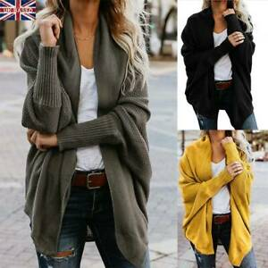 e9d6e2e25fa Details about Women's Ladies Cardigan Coat Tops Chunky Knitted Oversized  Sweater Jumper New LS