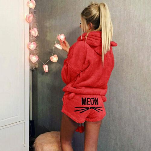 Tops Women Pyjamas Sets Winter MEOW Warm Hoodies PJs Homewear Sleepwear Shorts