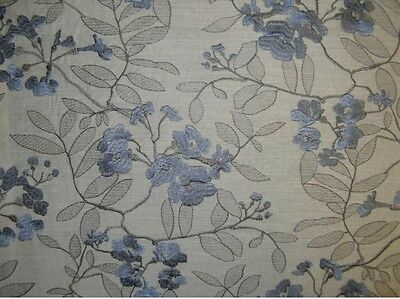 """Linen look 57"""" Wide Breez Embroidered Polyester  Upholstery fabric by Yard"""