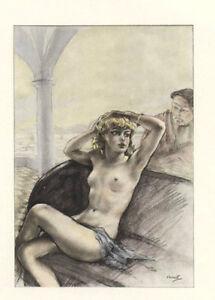 Ed-Chimot-litho-colorie-pochoir-1936-039-Dialogues-des-Courtisanes-039-Chamontin-1