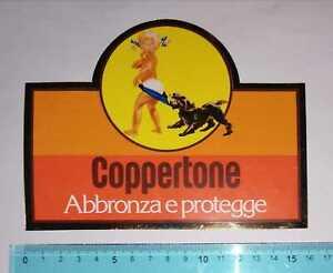 ADESIVO STICKER VINTAGE AUTOCOLLANT COPPERTONE ABBRONZANTI ANNI'80 16x12 cm RARO