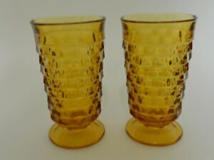 Indiana Glass Whitehall Colony Cubist Amber Footed Ice Tea Water Tumblers Two