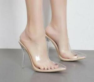 Womens Transparent Clear Crystal Stilettos High Heel Pointy Toe ...