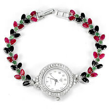 Sterling Silver 925 Marquise Faceted Emerald, Sapphire & Pink Ruby Watch 7.5 In
