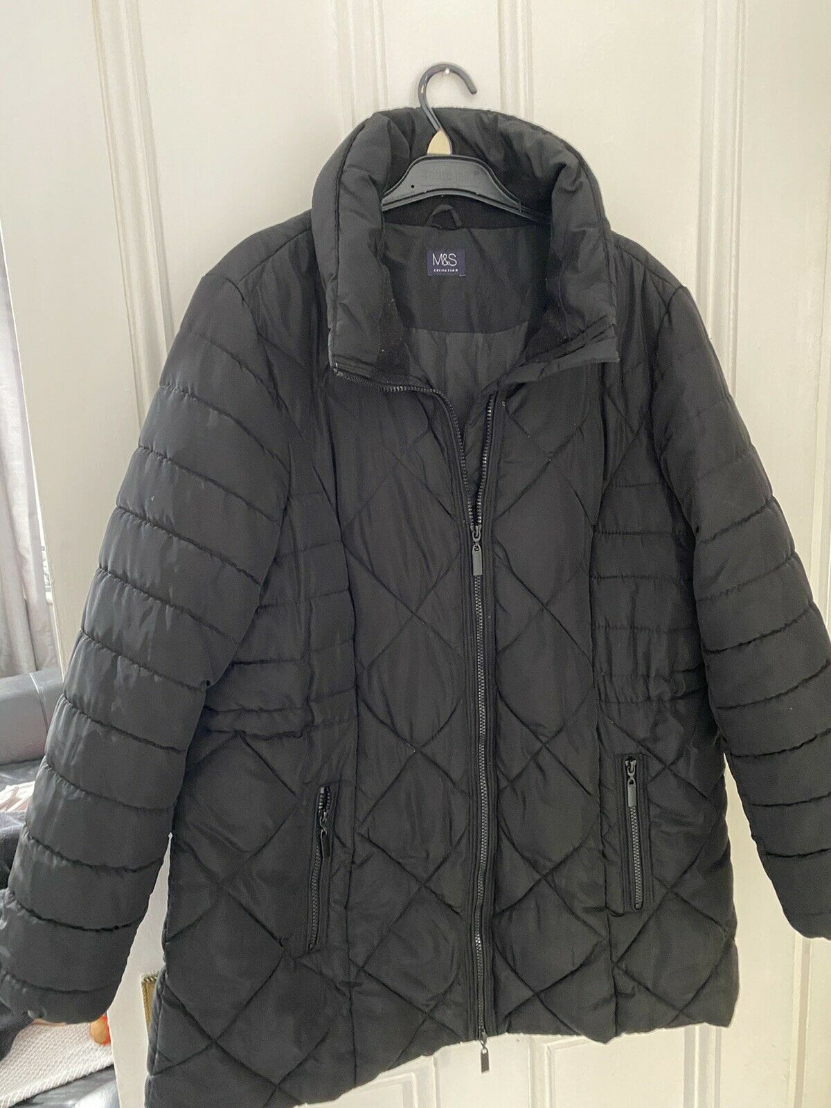 M&S Black Padded Coat Size 20 Only Been Worn a Few Times Pull String Waist