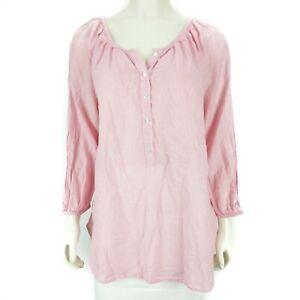 Lane-Bryant-Pink-White-Striped-3-4-Sleeve-Dress-Shirt-Blouse-Top-Women-039-s-14-16