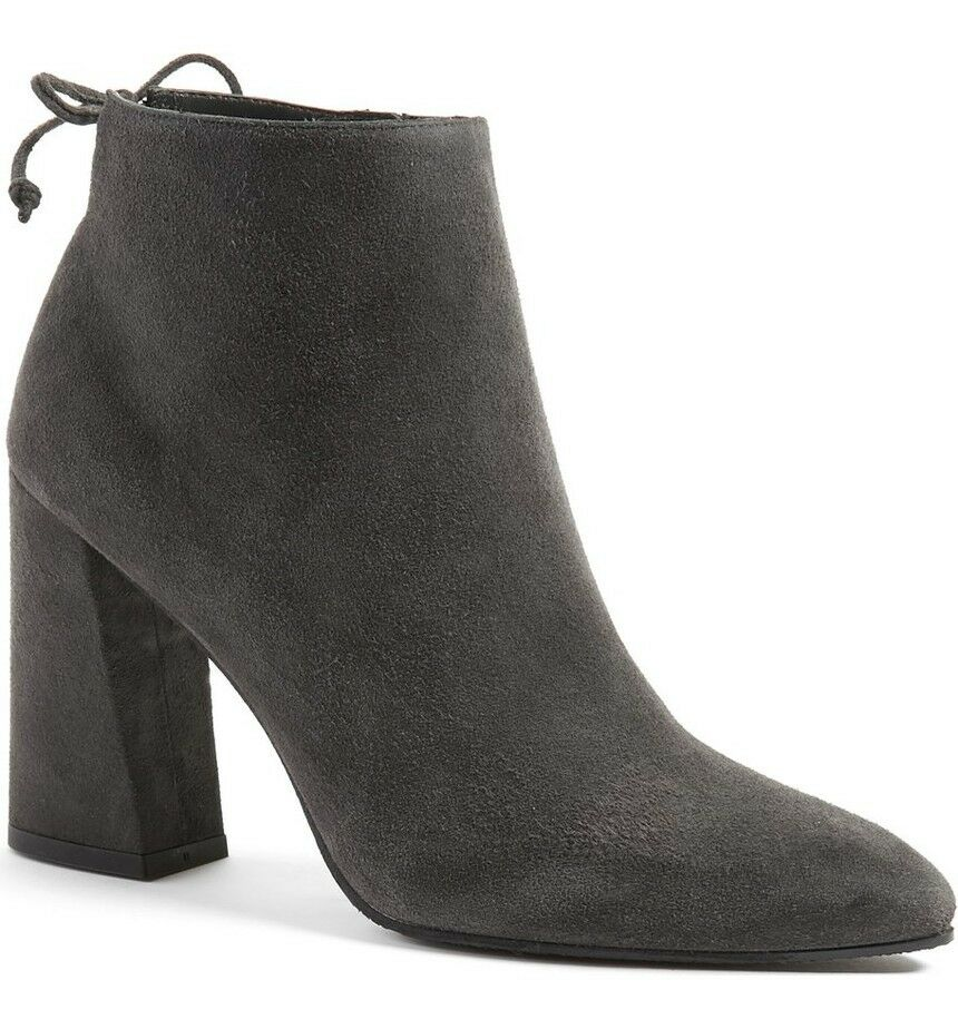 $525 Stuart Weitzman Grandiose Boot Ankle Slate Gray Suede Bootie 9.5 Pointy Toe
