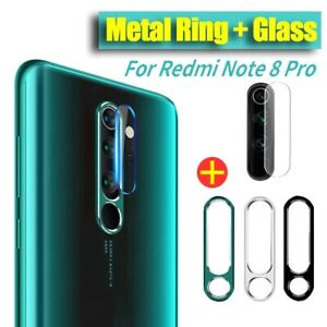 Vidrio Templado Protector De Lente De Cámara + anillo de metal para Xiaomi Redmi 8 Pro Reino Unido Note