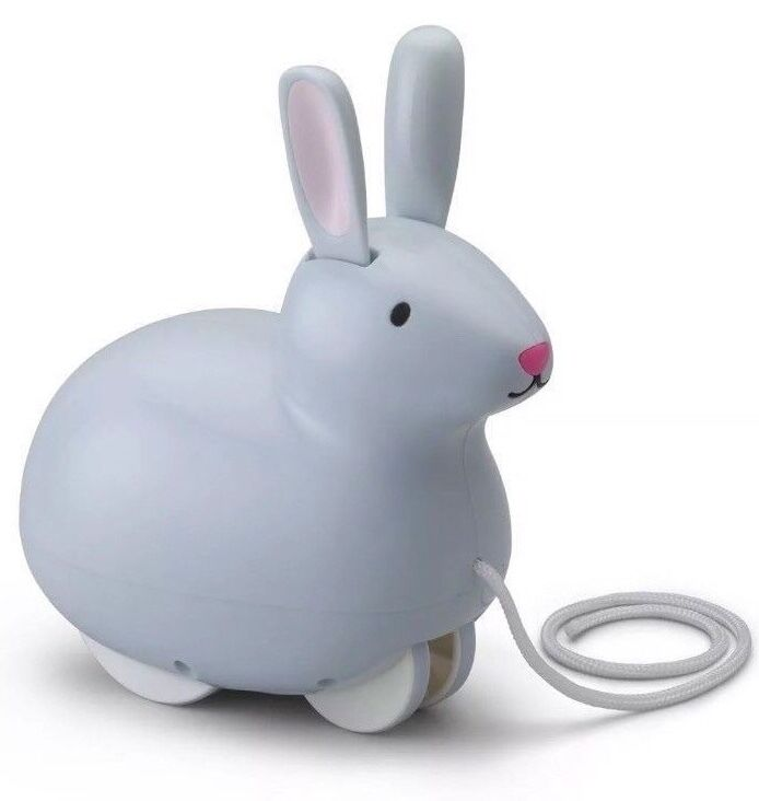 KID O Pull & Hop Bunny - Wiggling Ears - Grey Pull Along Toy