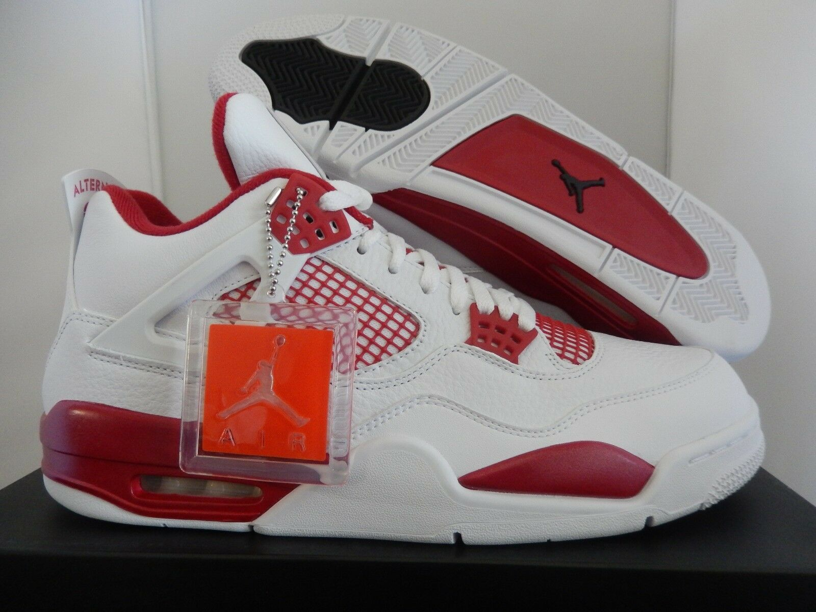 NIKE AIR JORDAN 4 RETRO WHITE-BLACK-GYM RED  ALTERNATE  SZ 14