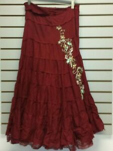 Long Lace L Xs Skirt Boho S Hippie Maroon Red M Beads Juniors New Festival Tiers RpRHaw1q