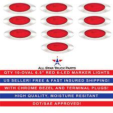 "6.5"" Oval Side Marker Light 6 LED Red Chrome Bezel Freightliner Trailer QTY 10"