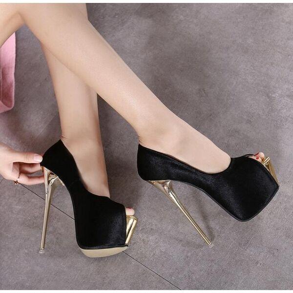 Court schuhe elegant woman high 16 cm plateau schwarz colourot open like leather