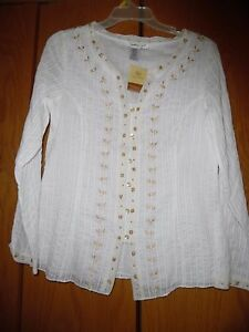 Coldwater-Creek-Women-039-s-White-Embroidered-V-Neck-Long-Sleeve-Top-Tunic-Sz-XS