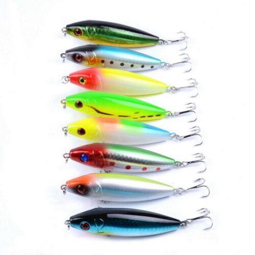 Fishing 3d Eyes Pencil Artificial Tackle Lure Fish Crankbait 8cm 12g 8PCS