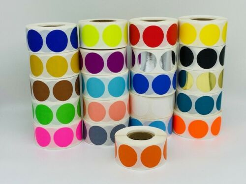 """1/"""" Round Orange Color coded Inventory Dots Roll of 500 Labels Stickers"""
