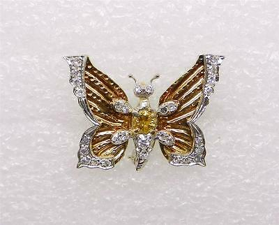 14K YG-PLATINUM VINTAGE BUTTERFLY WITH YELLOW AND DIAMONDS BROOCH  - LB1319
