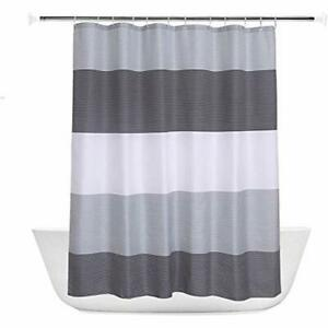 THICK POLYESTER WATERPROOF FABRIC SHOWER CURTAIN WITH 12 HOOK PLAIN WHITE DESIGN