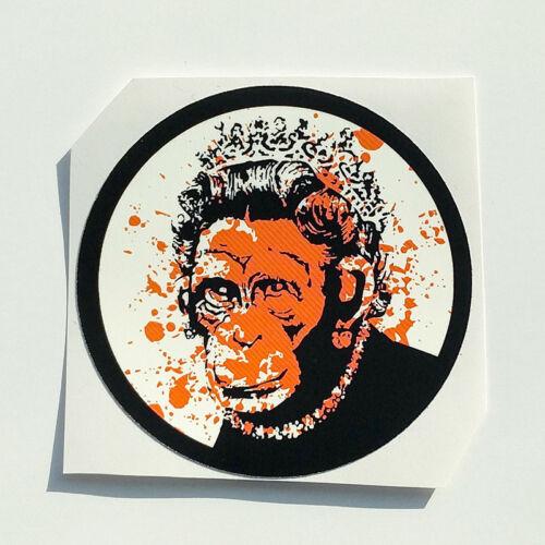 Banksy Sticker Queen Chimp Vinyl Decal Street Art Graffiti Monkey Car Bike Skate