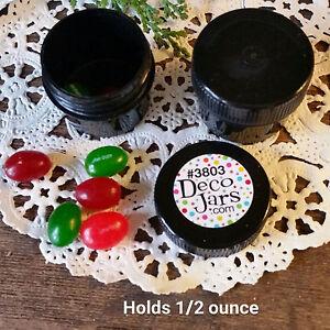 36-5oz-1-2-OZ-1Tblsp-BLACK-Plastic-Jars-Black-Caps-DecoJars-3803