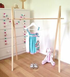 Details About Childrens Timber Clothes Rack Wooden Clothes Rail Shop Display Market Stand