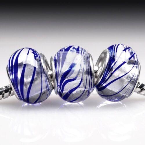 5pcs//10pcs Murano Glass Lampwork Round Spacer Beads Charm fit European Bracelet