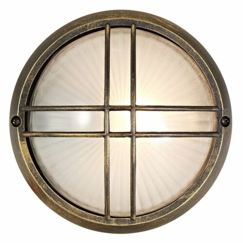 Black//Gold Die Cast Aluminium Outdoor Circular Bulkhead Porch or Wall Light b...