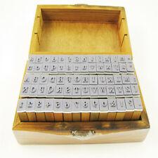 70Pcs Rubber Stamps Vintage Wooden Box Print Form Alphabet Letters Number Craft