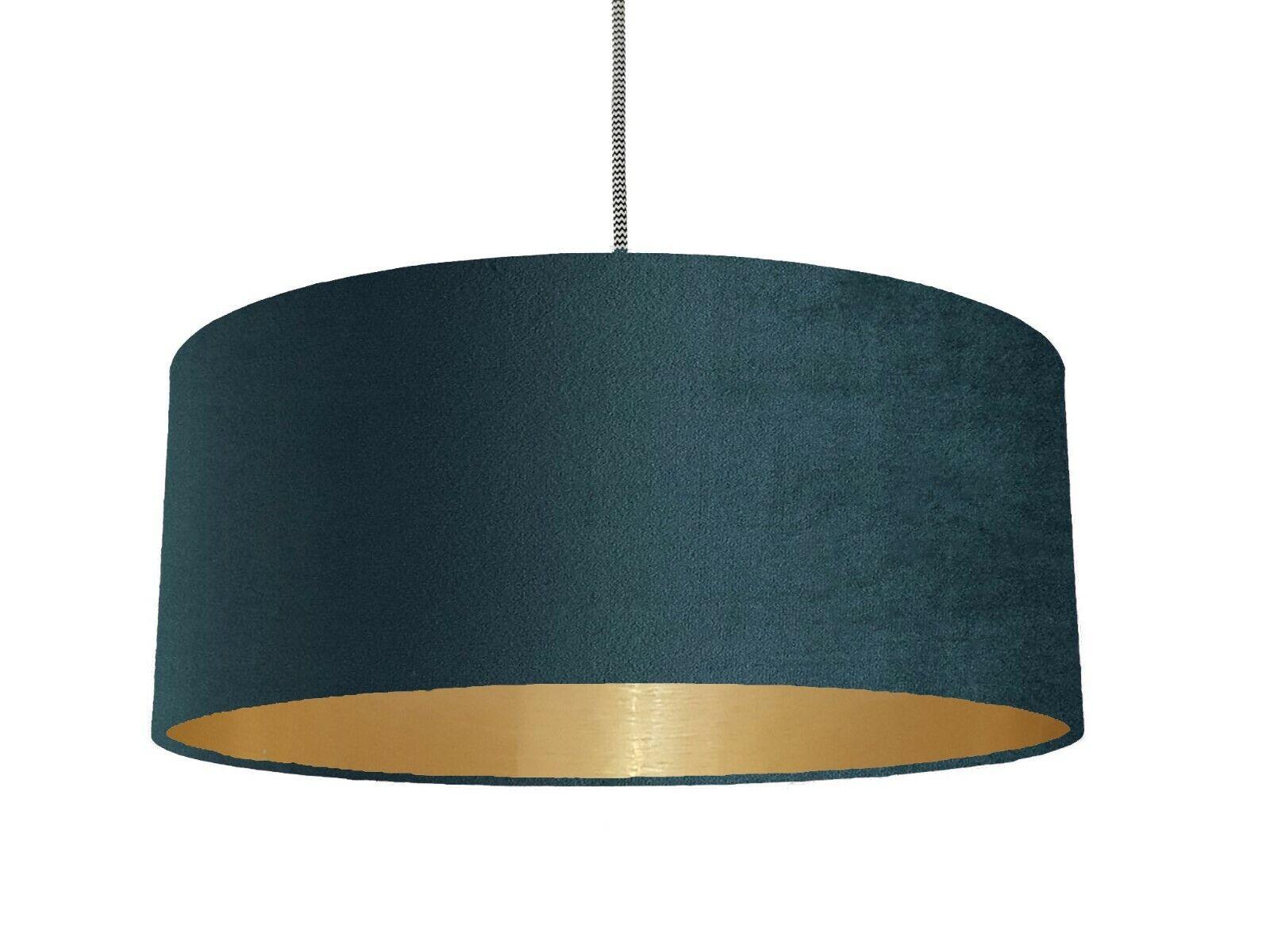 Designer Teal Blau Velvet Lampshade Brushed Metallic Champagne Gold 7 linings