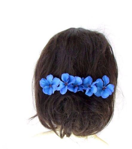 5 x Blue Hibiscus Flower Hair Pins Clips Beach Bridal Hawaiian Tropical 2430