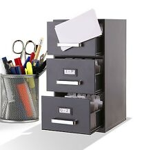 3 Drawer Mini Filing Cabinet. Business Card Storage Organizer Tray Rack Office