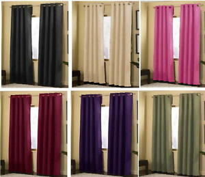 2-Panels-Grommet-Solid-Micro-suede-Curtain-Window-Covering-Panel-New