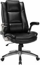 High Back Office Chair Tall Leather Executive Computer Desk Chair Flip Up Arms