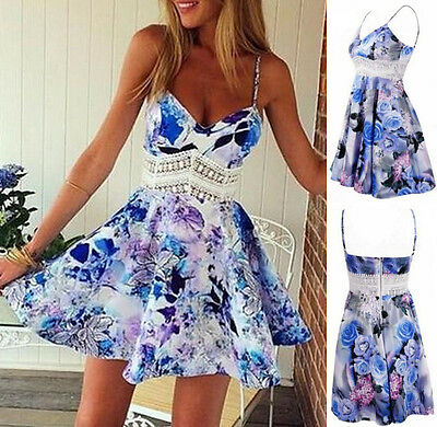 Printing Vogue Casual Summer Sleeveless Cocktail Short Mini Dress Party Evening