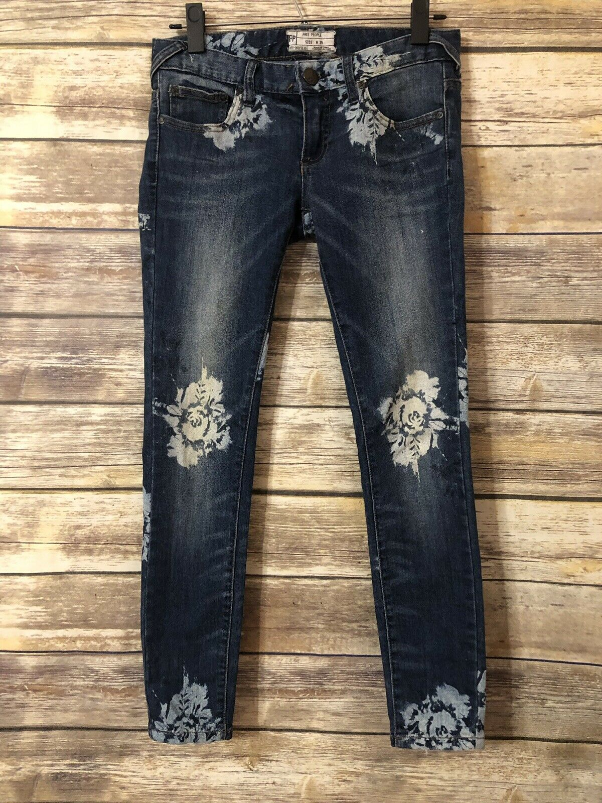 Free People Ankle Skinny Jeans Denim Floral pink 25