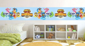 Paw Patrol Mighty Pups Blue Wallpaper Border Self Adhesive Children Bedroom 124 Ebay