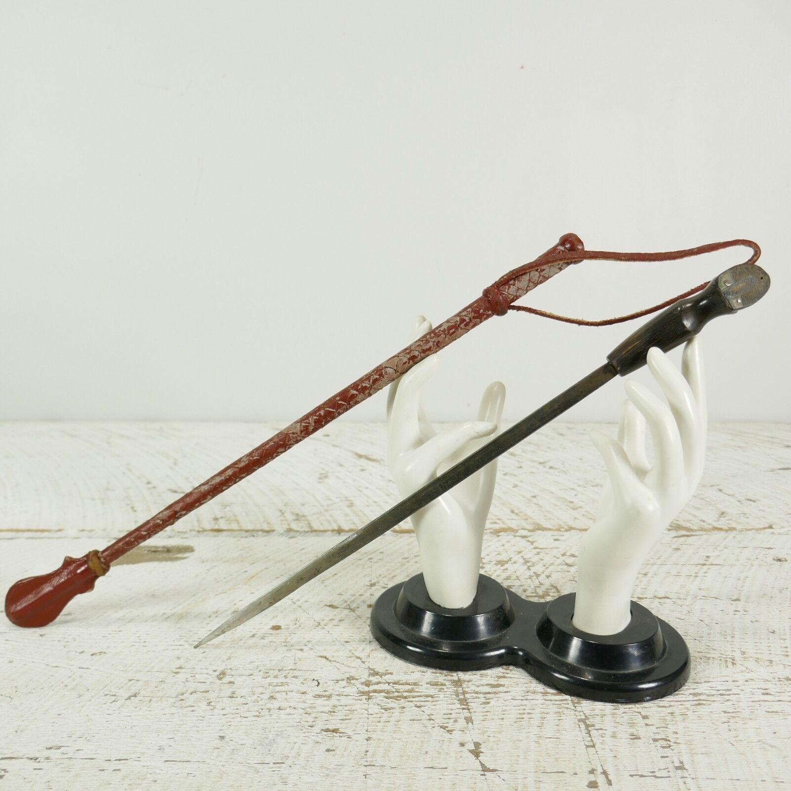 Vintage Antiguo envuelta de cuero equitación Látigo de recorte en la manija 19  Tallada